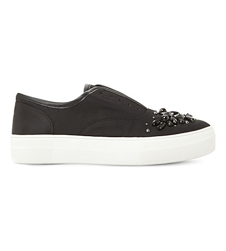 STEVE MADDEN Passion sm embellished slip-on trainers (Black-satin