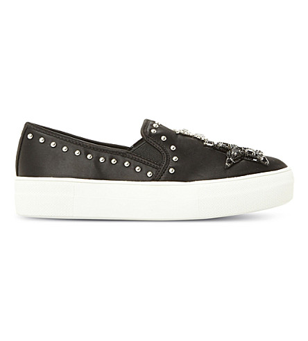STEVE MADDEN Star embellished satin skate shoes (Black-satin