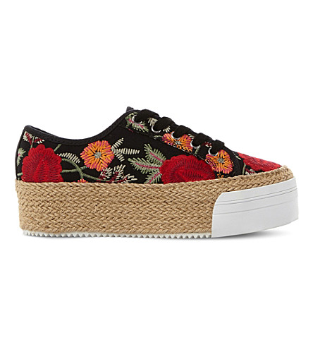 STEVE MADDEN Janella embroidered espadrille flatforms (Multi-fabric
