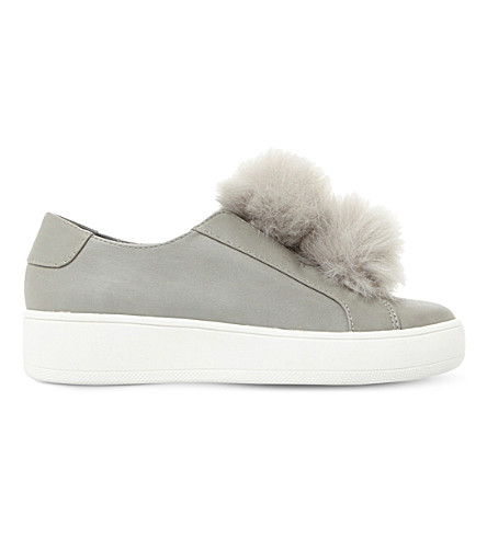 STEVE MADDEN Fluffy pompom-trim faux-leather trainers 3-8 years (Grey-plain+synthetic