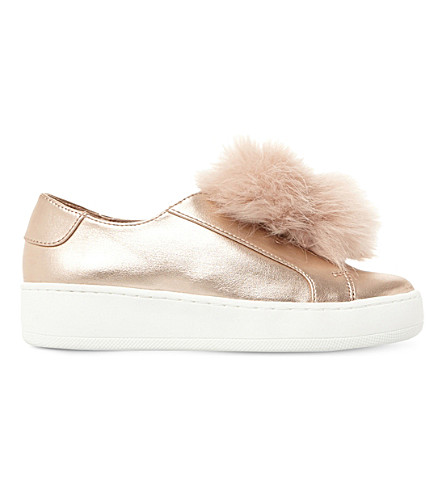 STEVE MADDEN Fluffy pompom-trim faux-leather trainers 3-8 years (Rose+gold-synthetic