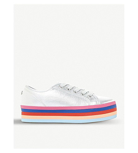 STEVE MADDEN Rainbow flatform trainers (Silver-plain+synthetic
