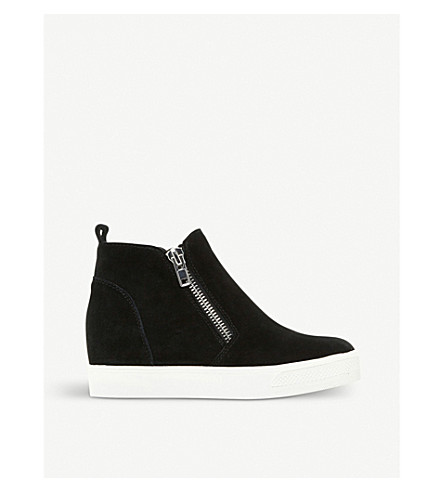 STEVE MADDEN Wedgie suede wedged trainers (Black-suede