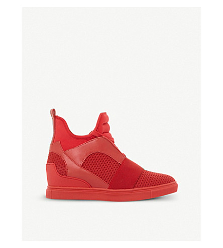 STEVE MADDEN Lexi flyknit high-top wedge trainers (Red