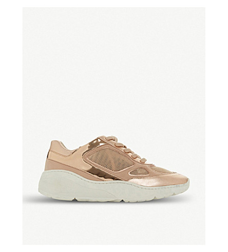 STEVE MADDEN Chunky-sole metallic leather trainers (Rose+gold-metallic
