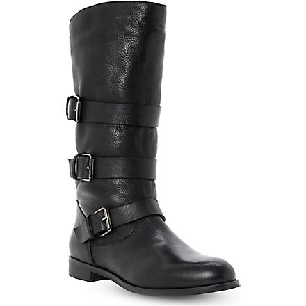DUNE BLACK Pettie leather calf-high boots (Black-leather