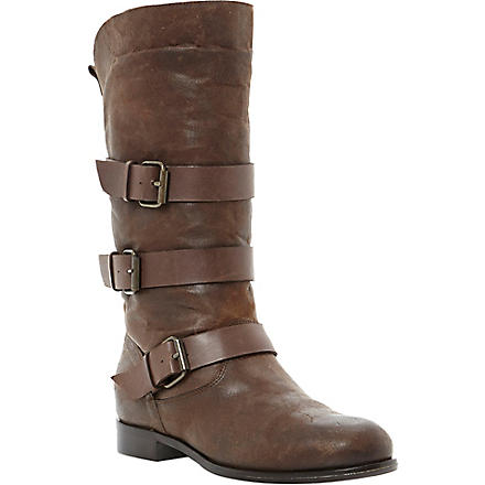DUNE BLACK Pettie leather calf-high boots (Brown-leather