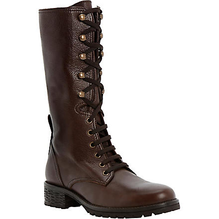 DUNE BLACK Panton leather calf boots (Brown-leather
