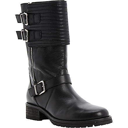 DUNE BLACK Puligo leather biker boots (Black-leather