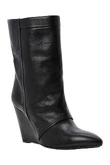 DUNE BLACK Ramos leather wedge boots