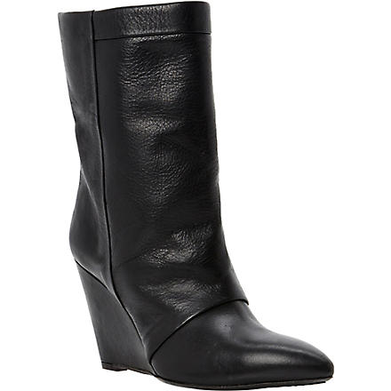 DUNE BLACK Ramos leather wedge boots (Black-leather