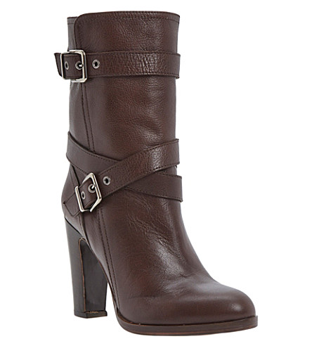 DUNE BLACK Rangel leather calf-high boots (Brown-leather