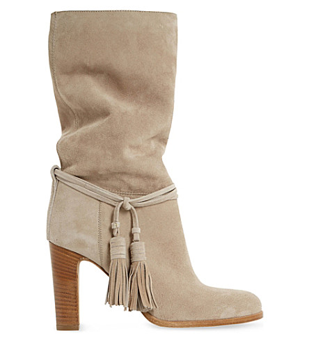 DUNE BLACK Ryleigh tasseled suede calf boots (Taupe-suede