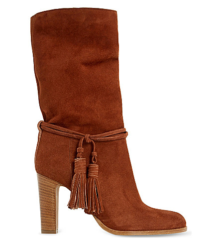 DUNE BLACK Ryleigh tasseled suede calf boots (Tan-suede