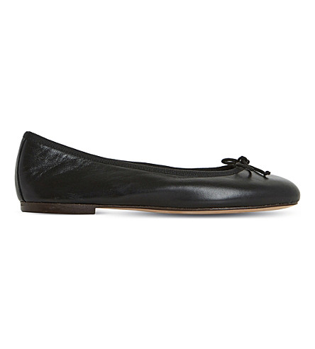 DUNE BLACK Hallam leather ballerina flats (Black-leather