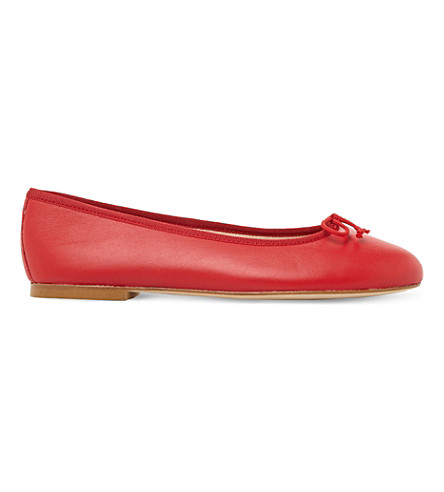 DUNE BLACK Hallam leather ballerina flats (Red-leather
