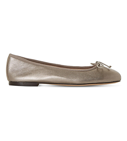 DUNE BLACK Hallam leather ballerina flats (Bronze-leather