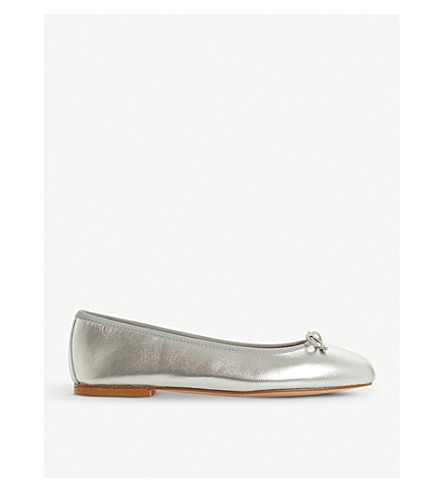 DUNE BLACK Hallam metallic leather ballet flat (Metallic-metallic+fabric