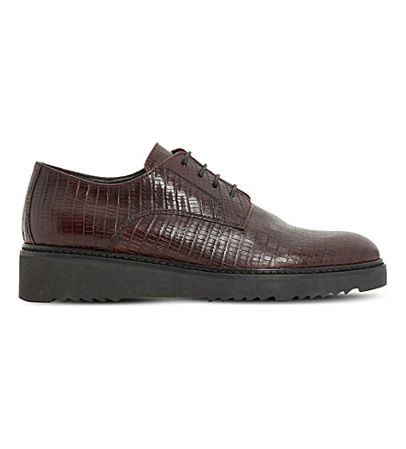 DUNE BLACK Freed leather derby flatform shoes (Burgundy-reptile