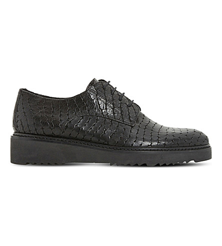 DUNE BLACK Freed leather derby flatform shoes (Black-reptile