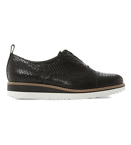 DUNE BLACK Faraz leather flatform oxford shoes (Black-reptile