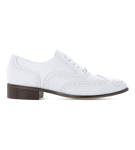 DUNE BLACK Fascination leather brogue shoes (White-leather