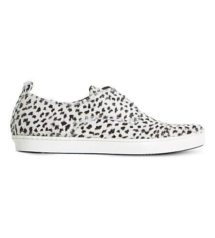 DUNE BLACK Frenche pony low-top trainers (Black/white-pony
