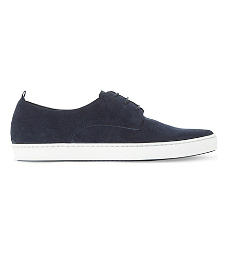 DUNE BLACK Frenche suede low-top trainers (Navy-suede