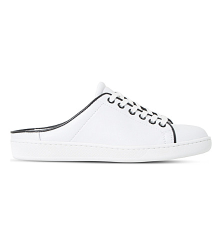 DUNE BLACK Effiee backless leather trainers (White-leather