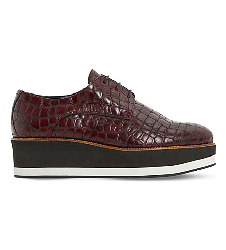 DUNE BLACK Factor mock-crock leather flatform oxford shoes (Burgundy-reptile