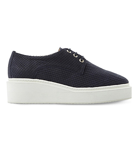 DUNE BLACK Flawless reptile-effect leather flatforms (Navy-reptile