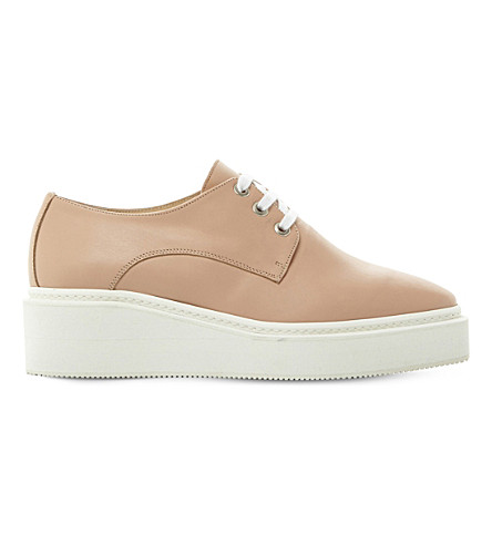 DUNE BLACK Flawless leather flatforms (Nude-leather