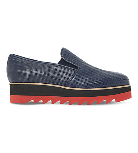 DUNE BLACK Gloss leather flatform shoes (Navy-leather