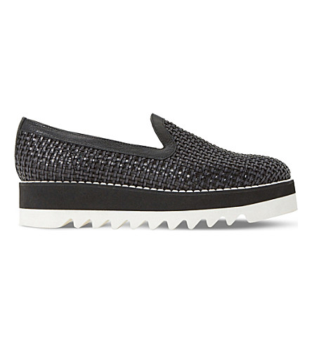 DUNE BLACK Gloat woven leather flatform shoes (Black-leather