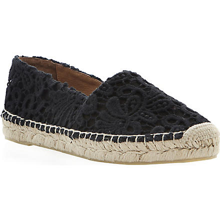 DUNE BLACK Gayle black lace espadrilles (Black-fabric