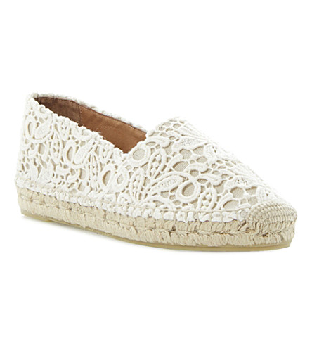 DUNE BLACK Gayle lace espadrilles (Cream-fabric