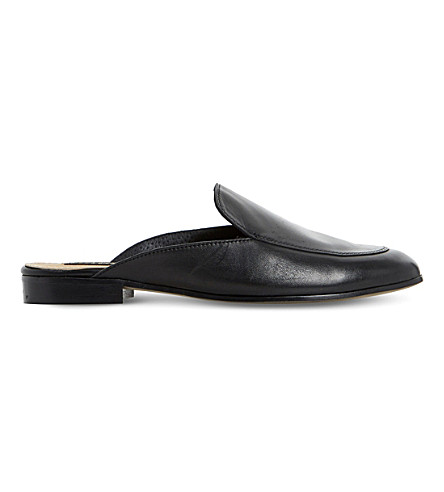 DUNE BLACK Guilde backless leather loafers (Black-leather