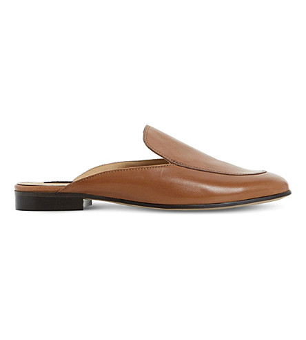 DUNE BLACK Guilde backless leather loafers (Tan-leather