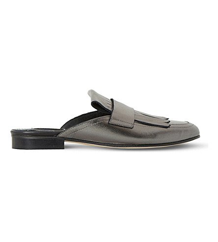DUNE BLACK Guye - fringed backless leather loafer (Pewter-metallic