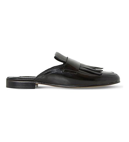 DUNE BLACK Guye - fringed backless leather loafer (Black-leather