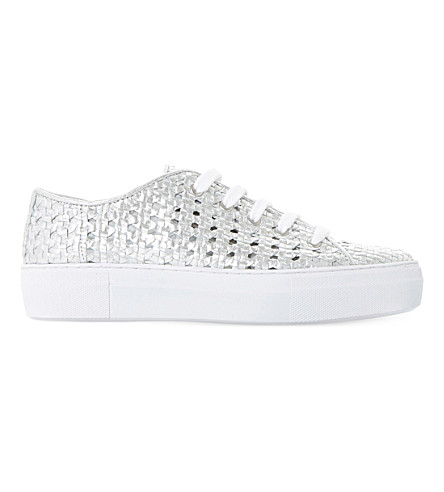 DUNE BLACK Ellsa metallic woven leather trainers (Silver-leather