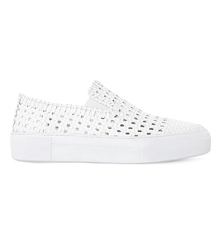 DUNE BLACK Woven slip-on trainer (White-leather