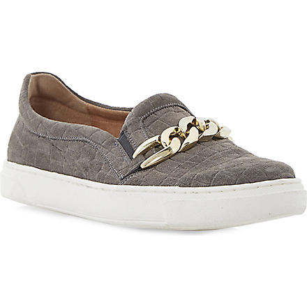 DUNE BLACK Peggi animal print slip on plimsole (Grey-leather