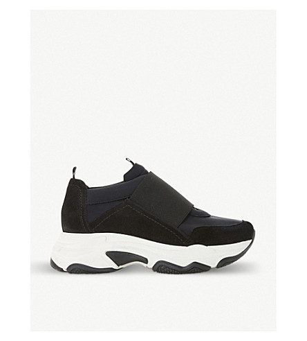 DUNE BLACK Easy leather trainers (Black-fabric