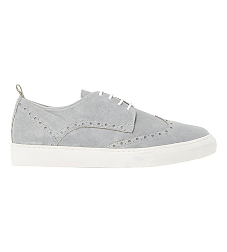 DUNE BLACK Effy suede brogue trainers (Grey-leather