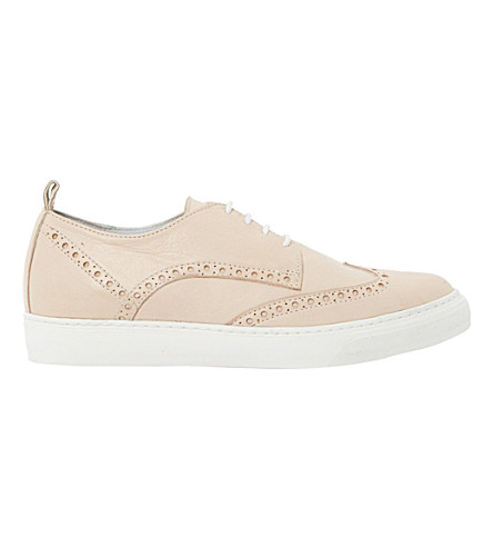 DUNE BLACK Effy leather brogue trainers (Blush-leather