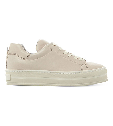 DUNE BLACK Export leather flatform sneakers (Stone-leather