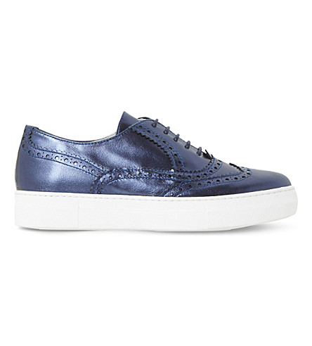DUNE BLACK Edun metallic brogue flatforms (Navy