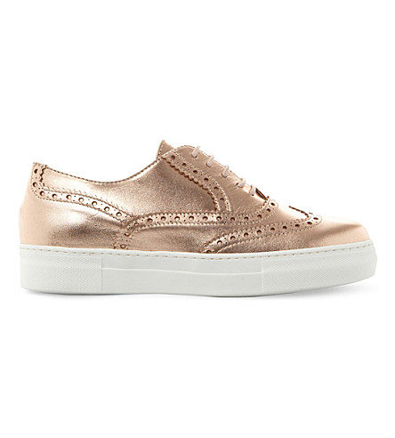 DUNE BLACK Edun metallic brogue flatforms (Rose+gold