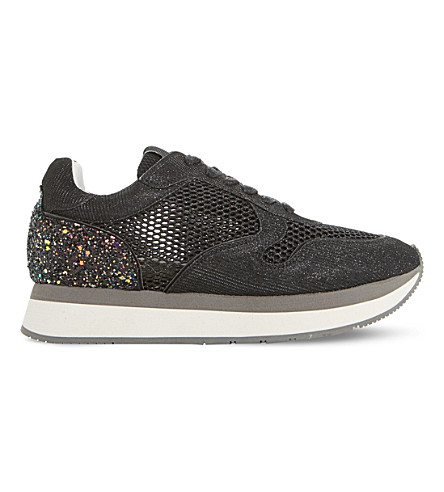 DUNE BLACK Everlynn glitter mesh and leather trainers (Black-glitter